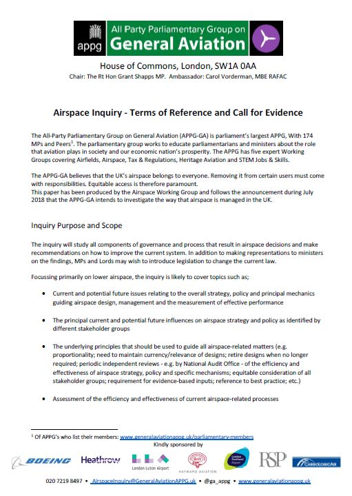 Airspace Inquiry - Terms of Reference and Call for Evidence » All